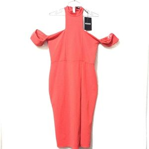 NWT Missguided Dress Cold Shoulder Midi Size 10